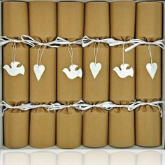 Beautiful Dove and Heart eco crackers, available from www.crackers.co.uk
