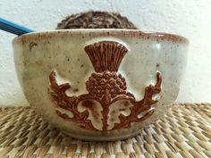 Large Ceramic Yarn Bowl - Knitting Bowl - Handmade Pottery - Scottish Thistle Design