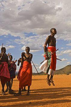 Samburu warrior dancing, Kenya