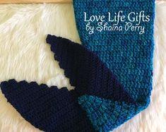 Handmade Shark & Mermaid Tail Blankets Fur pom by LoveLifeGifts