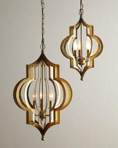 "H6E1B Regina-Andrew Design ""Pattern Makers"" Small Golden Chandelier"