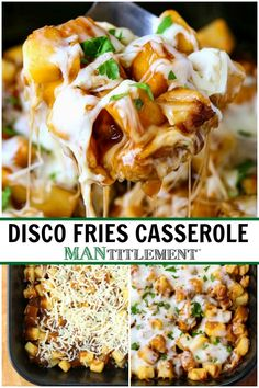 This Disco Fries Casserole is made with frozen, diced potatoes, mozzarella cheese and gravy - just like the diner favorite! Potato Side Dishes, Side Dishes Easy, Side Dish Recipes, Top Recipes, Recipies, Dinner Recipes, Frozen Potatoes, Diced Potatoes, Gravy Fries