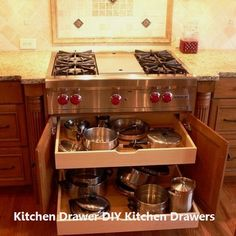 Trendy kitchen remodel must haves pot filler Kitchen Drawer Organization, Kitchen Drawers, Kitchen Cabinet Design, Interior Design Kitchen, Kitchen Storage, Pan Storage, Pantry Design, Cabinet Storage, Kitchen Shelves