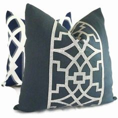 Add a Pop O Blue to your room with this elegant navy blue and light gray trellis pattern pillow covers.The fabric is part of Mary McDonalds new