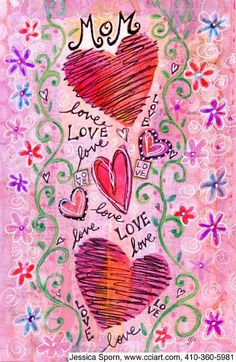 Send a Hearts Mother's Day Card with your own Handwriting. Signed, sealed, delivered at no extra cost! Quality cards made in the USA. Designed by Jessica Sporn, Creative Connection, Inc. Doodle Coloring, Adult Coloring, Coloring Books, Creative Connections, Smash Book, Love, Doodle Art, Altered Art, Handwriting