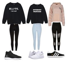 """""""now were talking"""" by destgreen ❤ liked on Polyvore featuring OBEY Clothing, River Island, NIKE and adidas Originals"""