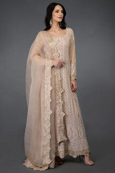 A fusion of Iconic Lucknowi Chikankari and Gota Patti work from Rajasthan, This is a beautiful oyster pink pure georgette Anarkali Suit. The kalidaar shirt has intricate hand embroidered ivory chikankari all over, embellished with hand embroidere Anarkali Dress, Anarkali Suits, Pakistani Dresses, Indian Dresses, Indian Outfits, Punjabi Suits, Pakistani Suits, Pakistani Clothing, Ethnic Outfits