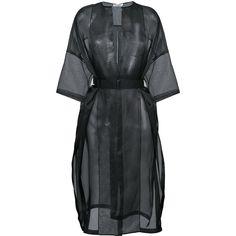 Jil Sander sheer Dalmazia coat ($1,850) ❤ liked on Polyvore featuring outerwear, coats, black, sheer coat, jil sander coat, jil sander and silk coat