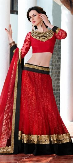 144258, Mehendi & Sangeet Lehenga, Net, Stone, Lace, Resham, Red and Maroon Color Family