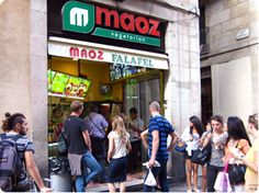 Maoz Vegetarian. Best fast food falafel ever!!!!! My fav is the one on Carrer de Ferran in Barcelona, but the one in Paris is good too. :-)