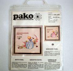 Vintage Embroidery Kit, Birth Panel, Cross- Stitch and Back-Stitch ,PAKO Handwerken.Made in Holland, 1970,s door VasioniVintage op Etsy