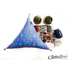 triangle cushion Triangle Pillow, Cushions, Pillows, Tassels, Fabric, Instagram Posts, Blue, Design, Throw Pillows