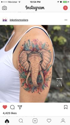 Watercolor Elephant Tattoo - Single Elephant Tattoo with Flowers - The Best Elephant Tattoo Designs - Cute Elephant Tattoo Designs and Ideas - Sexy Thigh Tattoo, Small Elephant Tattoo, Elephant Outline, Elephant Tattoo Meanings Elephant Family Tattoo, Elephant Thigh Tattoo, Cute Elephant Tattoo, Elephant Tattoo Design, Colorful Elephant Tattoo, Small Elephant, Tattoo Thigh, Elephant Outline, Elephant Tattoo Meaning