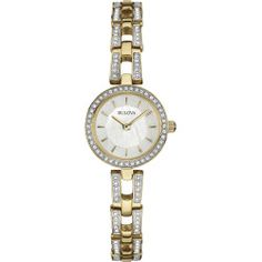 Bulova Womens Crystal-Accent Gold-Tone Stainless Steel Bracelet Watch 98L213