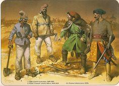 1:Light-armed cavalryman, 1600-1625. 2:Polish 'Cossack' cavalry officer, 1600-1625. 3,4:Peasant infantryman, 1630s.