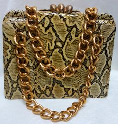 VARON Vintage 60s Python Embossed Purse with Cool by Vintageables