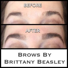 Brow Shaping with a low temp hard wax, brow tint, trim, & tweeze.