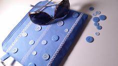Wristlet, Clutch, Purse for iPHONE or Samsung Note 4, light blue, buttons, Club bag - pinned by pin4etsy.com