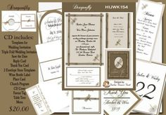 Delux Dragonfly Wedding Invitation Kit on CD