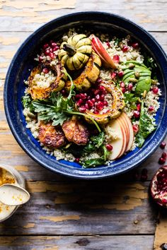 Fall Harvest Quinoa Salad - A super healthy fall favorites salad, balanced with yummy fried halloumi, for a hearty and delicious meal. @halfbakedharvest.com