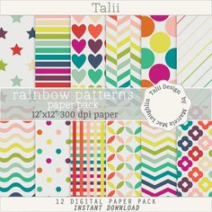 Rainbow Patterns PAPER PACK- Digital papers in rainbow colors, stars, stripes, hearts, dots, flowers, chevron, for cards, party decoration by TaliiDesign on Etsy