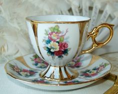 Vintage Elegant Rose and Gold Footed Shafford Teacup and Saucer