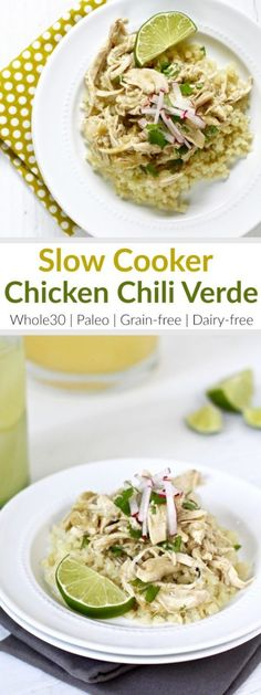Slow Cooker Chicken Chili Verde   It hardly gets any easier than this recipe with just 5 ingredients! Look for a salsa verde without preservatives or added sugars - we like the Trader Joe's Salsa Verde because it's just tomatillos, green chiles, water, onions, jalapenos, salt and spices. Serve over cauliflower rice or tucked into lettuce wraps   Whole30   Paleo   Grain-free   Dairy-free   therealfoodrds.com