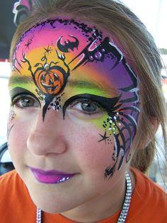 Halloween fantacy mask - face paint rainbow one stroke Halloween Design, Halloween Makeup, Halloween Face, Halloween Kids, Mask Face Paint, Face Paint Makeup, Balloon Painting, Body Painting, Face Painting Designs