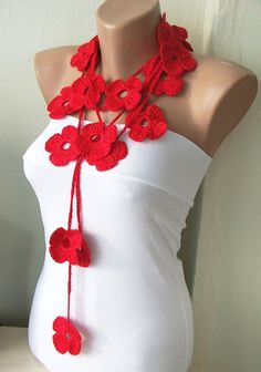 VALENTINE'S RED Handmade Crochet Red Flower Lariat Scarf by Periay, $25.00