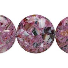 Bead, mother-of-pearl and resin (assembled), opaque purple and multicolored, 24-25mm puffed flat round. Sold per 15-inch strand. - Fire Mountain Gems and Beads