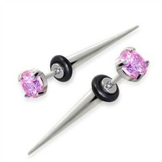 Fake Tapers with pink gem