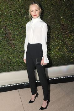 Kate Borswort, classic white blouse and black pants, fall shade red lipstick. September 14, 2016