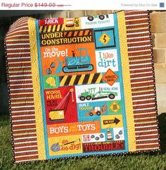 SALE Construction Vehicle Quilt Baby Boy Blanket Backhoe Dozer Crane Dirt Toys on Etsy, $137.08