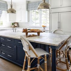 white kitchen design with blue island, navy kitchen island Kitchen Nook, Kitchen Redo, Kitchen Styling, New Kitchen, Kitchen Remodel, Kitchen Dining, Kitchen Island, Kitchen Ideas, Home Interior