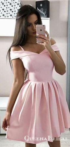 A-Line Off-the-Shoulder Above-Knee Pink Satin Homecoming Dresses, QB0838 #homecoming #homecomingdresses #shorthomecomingdresses #simplehomecomingdresses