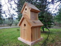 Cedar Two Story Birdhouse - Hand Crafted - All Natural - Western Red Cedar - Free Hanging