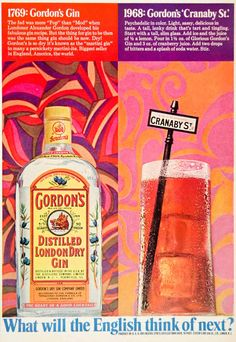 1968 Ad Gordon's Distilled London Dry Gin Cranaby St. Cocktail Alcohol Drink
