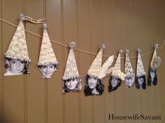 birthday banner, picture garland, party hats