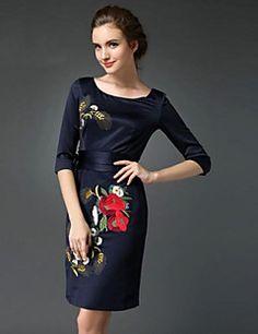 Bayanlar Büyük Bedenler Büyük Beden / Parti Elbise Çiçekli Diz üstü Yuvarlak Yaka Polyester