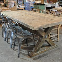 Reclaimed Wood Trestle Dining Table Dinning Room Tables, Trestle Dining Tables, Patio Table, Farmhouse Furniture, Farmhouse Table, Rustic Furniture, Rustic Table, Wood Table, Wood Chairs