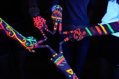 summer idea! use highlighters or cut open glowsticks and paint them all over your hands or feet! use a black light and take picture if ya like!