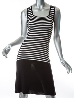 Get ready for summer with this Isaac Mizrahi Italy Black White Drop Waist Knit Tank Dress