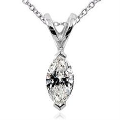 14k White Gold 1/4ct TDW Marquise Diamond Solitaire Necklace (H-I, I1-I2)