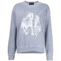 Baja East horse print sweatshirt ($255) ❤ liked on Polyvore featuring tops, hoodies, sweatshirts, grey, grey sweatshirt, horse sweatshirt, grey top, gray sweatshirt and gray top