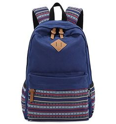 Brotechno Unisex Fashionable Big Capacity Casual Style Lightweight Canvas Laptop Backpack  Fashion Cute Travel School College Shoulder Bag  Bookbags  Daypack Stripe School College Laptop Bag for Teens Girls Boys Students for Teenage Girlsstudentswomen with Laptop Compartment BLUE ** Read more reviews of the product by visiting the link on the image.