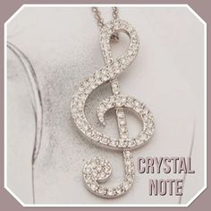 Crystal & Silver Musical Note
