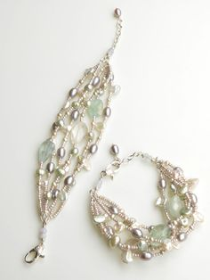 Aquamarine with silver and white pearls in six strands of elegance. The colors here are so flattering and will look beautiful on the bride! Only $148 on www.harmonyscott.com