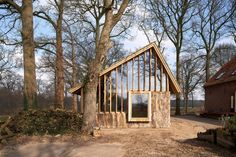 HilberinkBosch Architects builds asymmetric barn with wood from own land