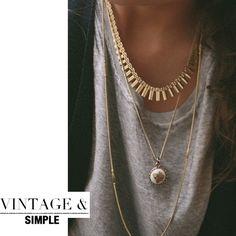 vintage necklaces Novas formas de usar vários colares ao mesmo tempo. #Tendência #necklaces #colares