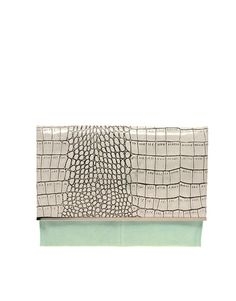 So cute. Love the mint color accent... ASOS Leather Clutch Bag. Mock Croc effect. ~$66. Not a bad price.
